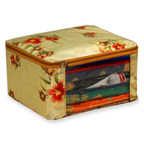 Flower Design Golden back cover Multi saree packing bag