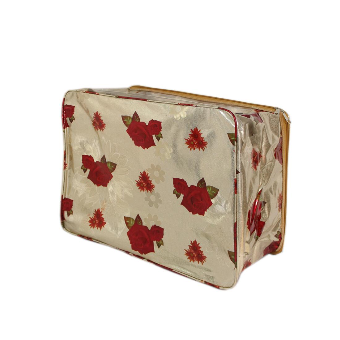 Red Rose  golden background Multi saree packing bag