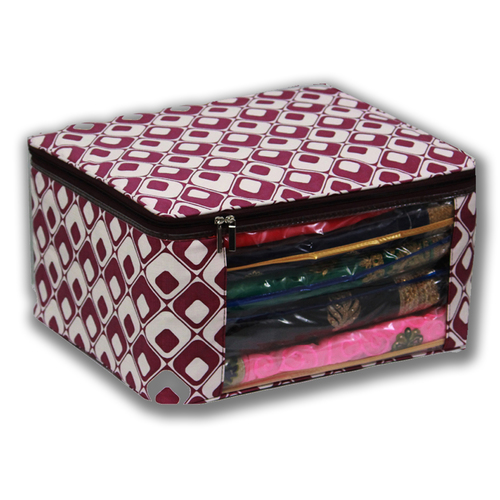 Violet checkers Multi saree packing bag