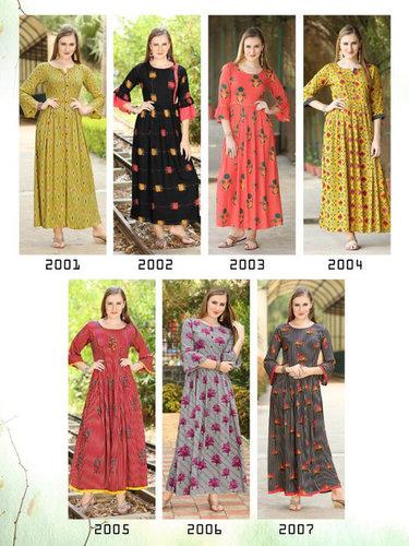 Amaya Wardrobe Vol-4 Rayon Print Gown Type Kurta Set
