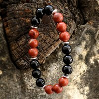 Red Jasper & Black Onyx Silver Bracelet PG-156242