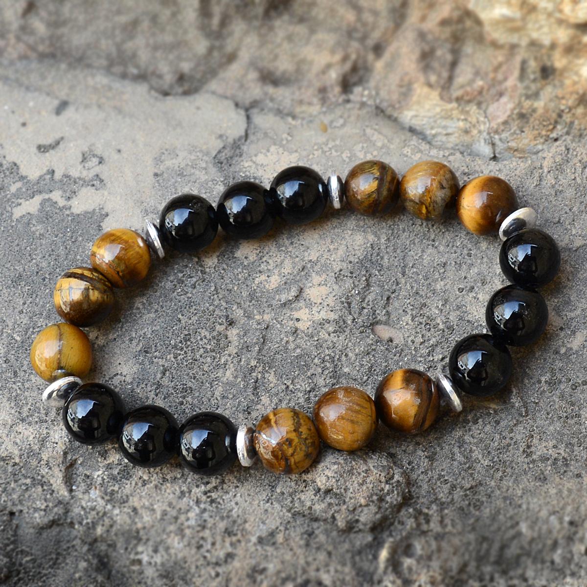 Tiger Eye & Black Onyx Silver Bracelet PG-156243