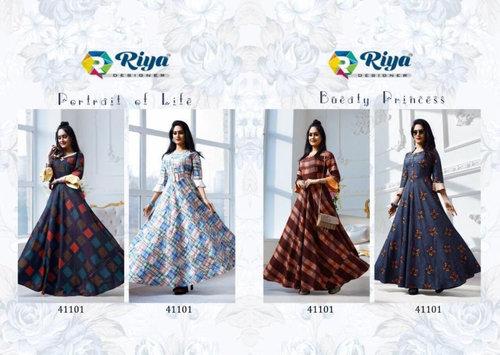 Amyra Riya Designer Denim Print Anarkali Kurti