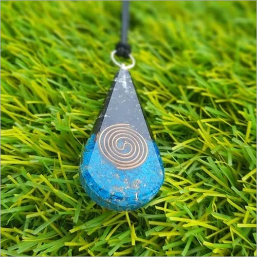 Orgone Black Tourmaline With Tourquoise Stone Healing Teardrop Pendant