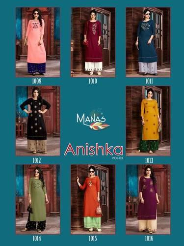 Anishka Vol-3 Manas Rayon Top Palazzo Kurti