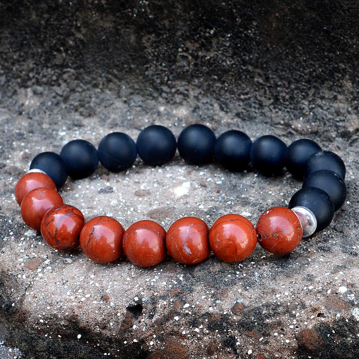Red Jasper & Matte Onyx Silver Bracelet PG-156244