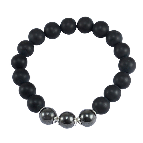 Matte Onyx & Hematite Silver Bracelet PG-156247