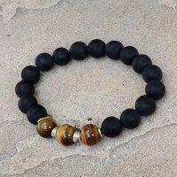 Matte Onyx & Tiger Eye Silver Bracelet PG-156251
