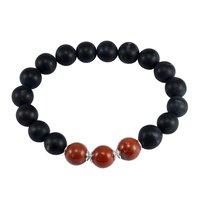 Matte Onyx & Red Jasper Silver Bracelet PG-156253