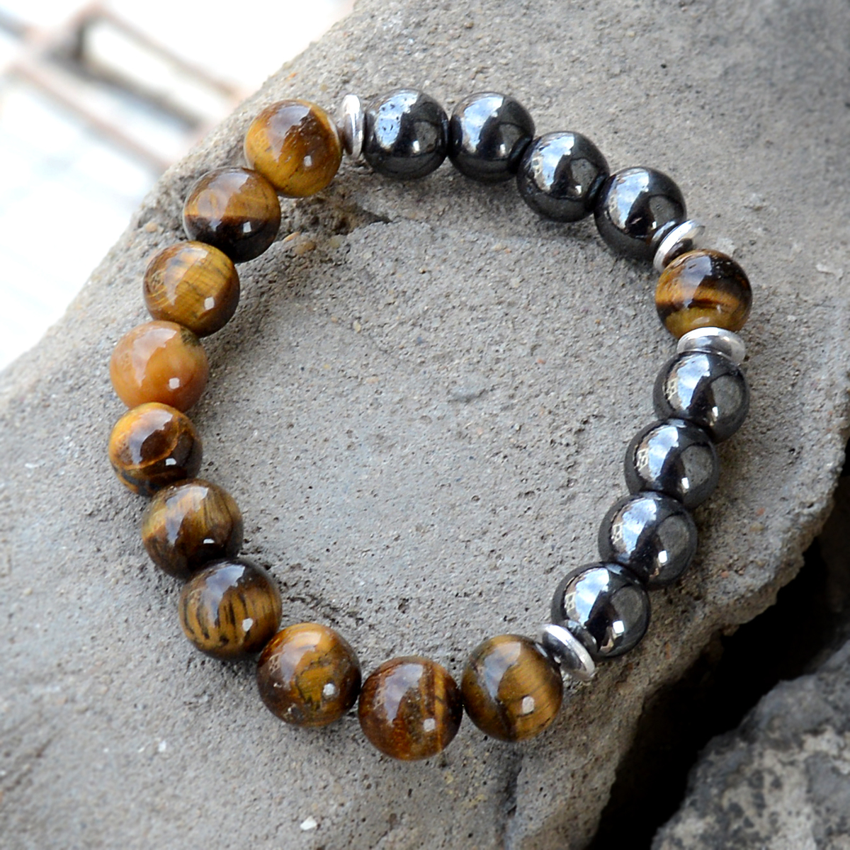 Hematite & Tiger Eye Silver Bracelet PG-156254
