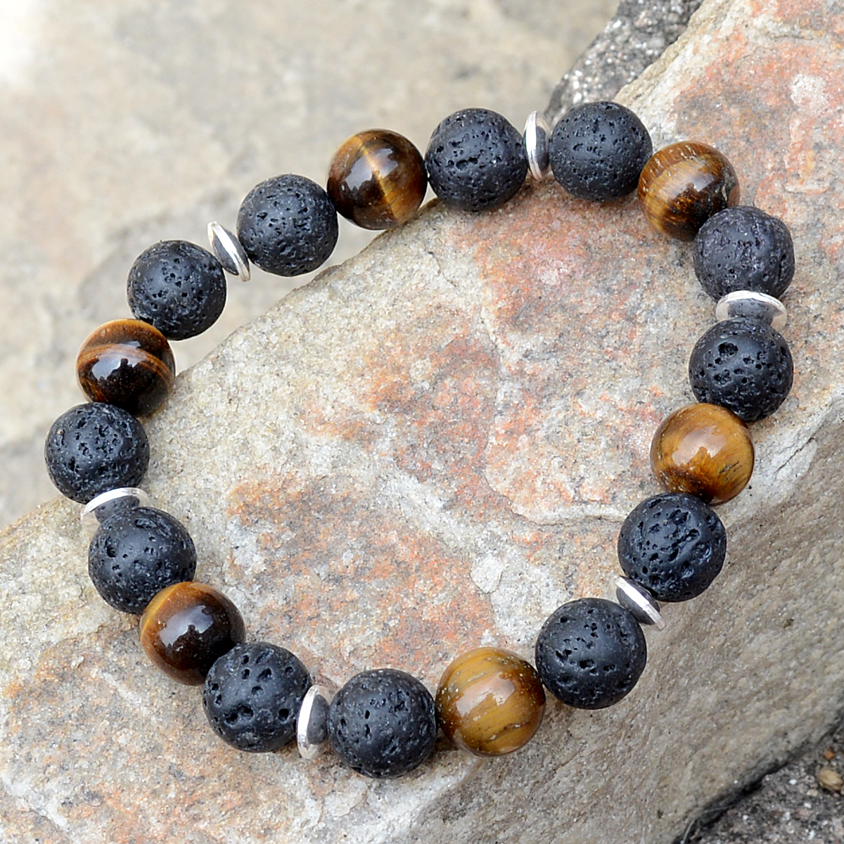 Lava Stone & Tiger Eye Silver Bracelet PG-156255