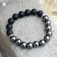 Hematite & Matte Onyx Silver Bracelet PG-156256