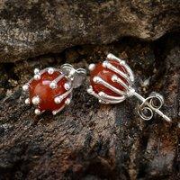 Orange Carnelian Silver Ear Stud PG-156257