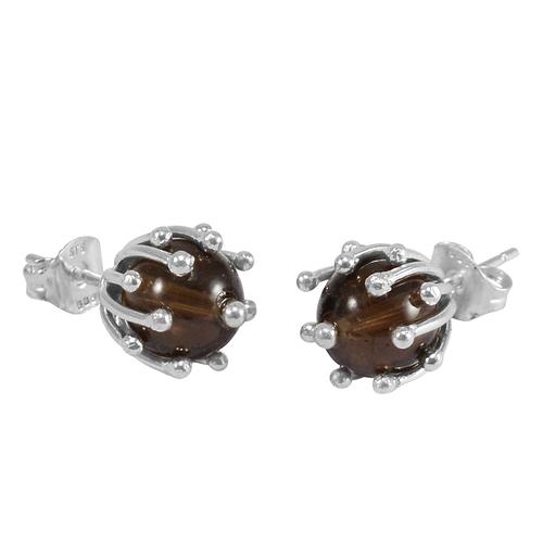 Smoky Quartz Silver Ear Stud PG-156259