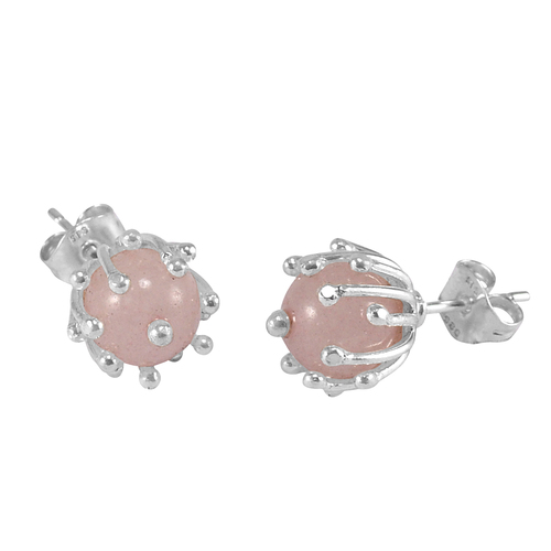 Rose Quartz Silver Ear Stud Earring PG-156262