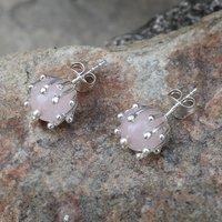 Rose Quartz Silver Ear Stud Earring PG-156262