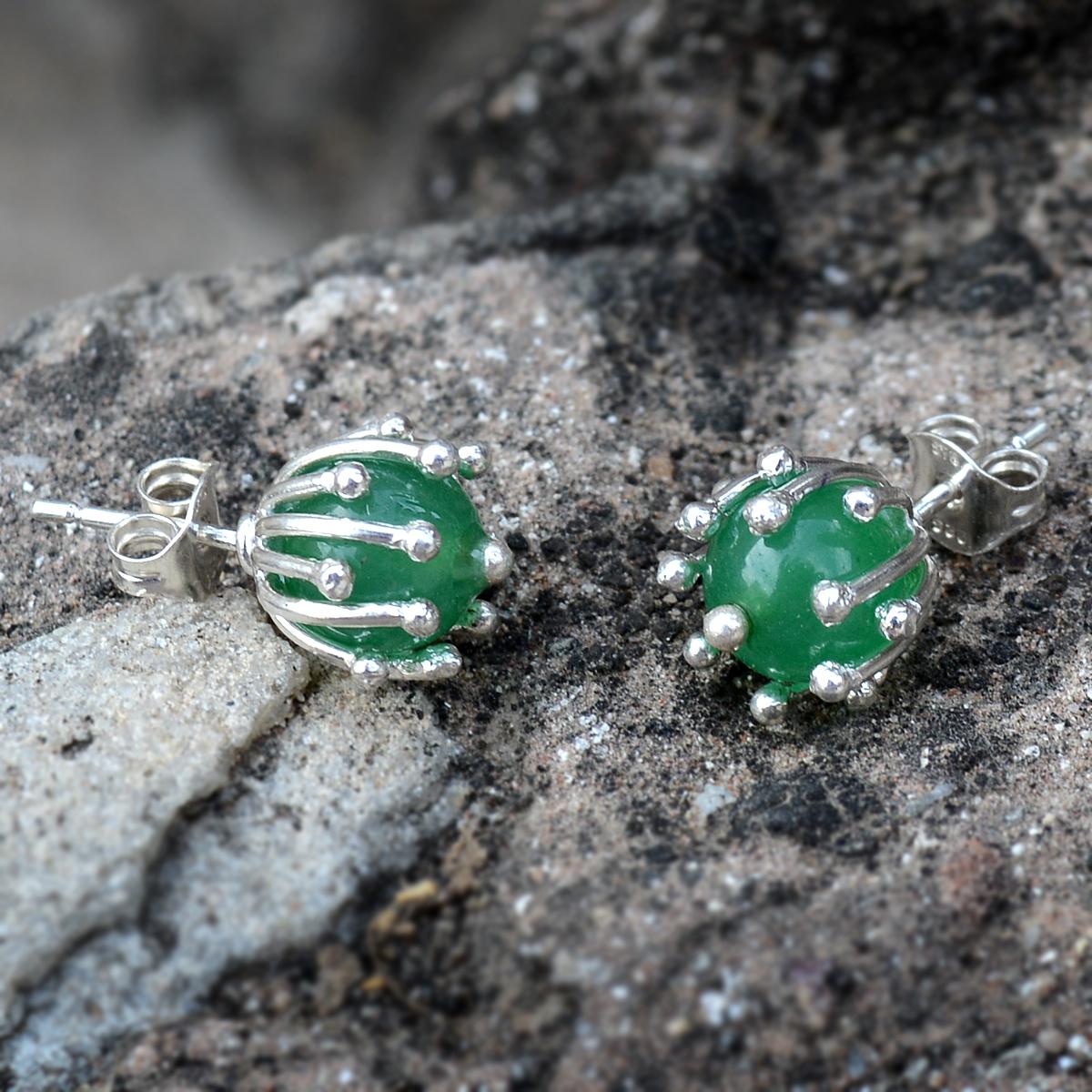 Green Onyx Silver Ear Stud Earring PG-156264