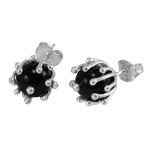Black Onyx SIlver Ear Stud Earring PG-156265
