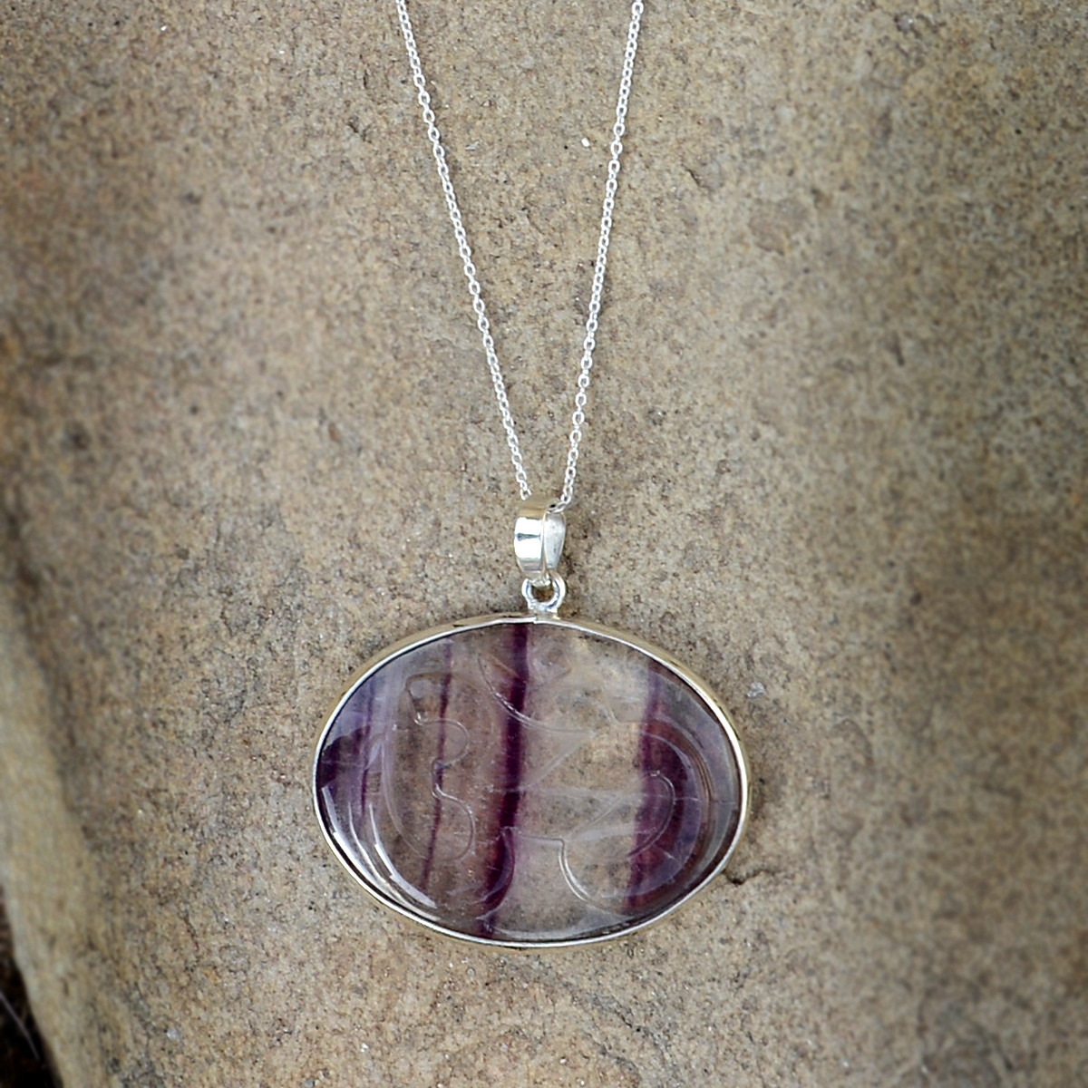 Fluorite Stone Silver Pendant Necklace PG-156268