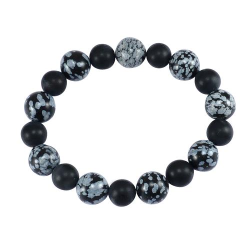 Snowflake  & Matte Black Onyx Bracelet PG-156270