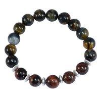 Black & Red Tiger Eye Silver Bracelet PG-156273