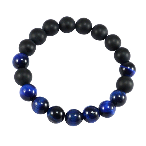 Blue Tiger Eye & Matte Onyx Bracelet PG-156281