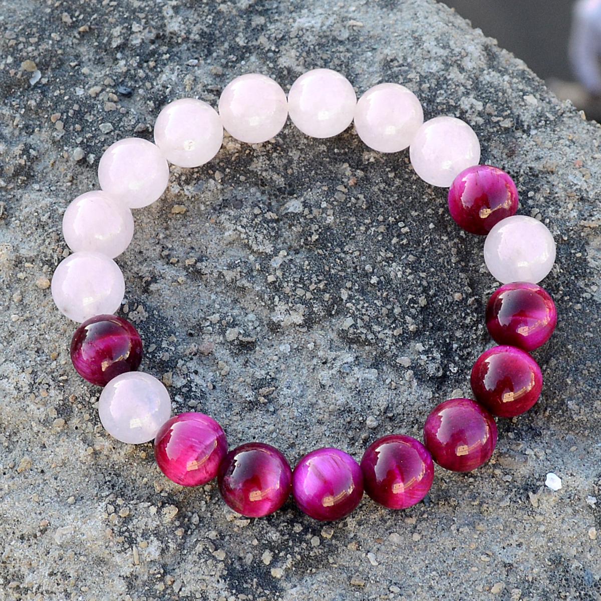 Pink Tiger Eye & Rose Quartz Bracelet PG-156284
