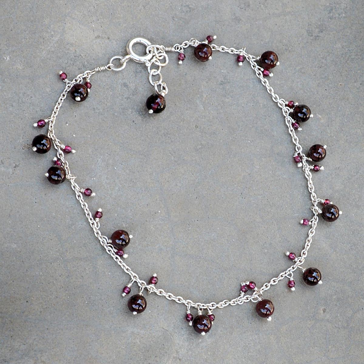Rhodolite Garnet Silver Anklet PG-156291