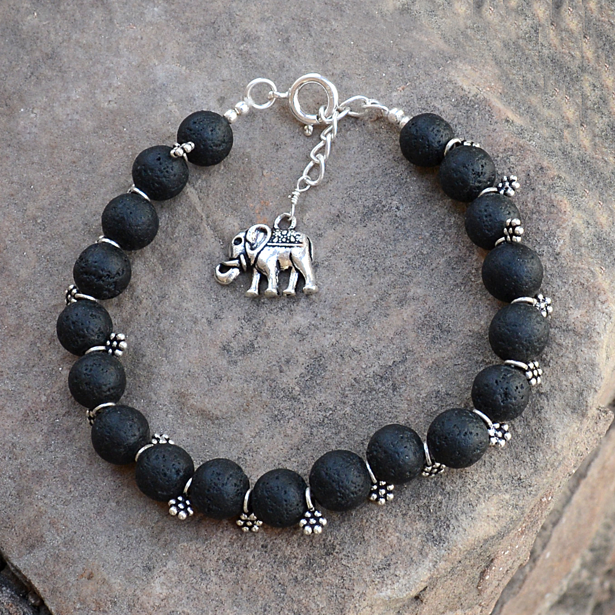 Lava Stone Silver Bracelet PG-156292