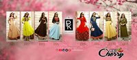 Aradhna Presents Red Cherry Heavy Rayon Pyramid Shaped Long Kurtis