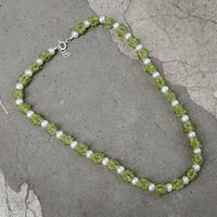 Peridot & Pearl Gemstone Silver Necklace PG-156295