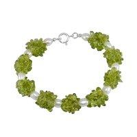 Peridot & Pearl Gemstone Silver Bracelet PG-156296