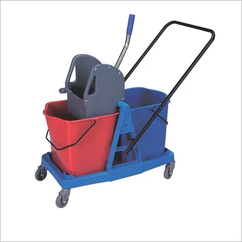 Mop Wringer Trolley 2 Bucket - Down Press 25 Ltr +25 Ltr