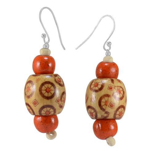 Silver Wooden Earring PG-156300