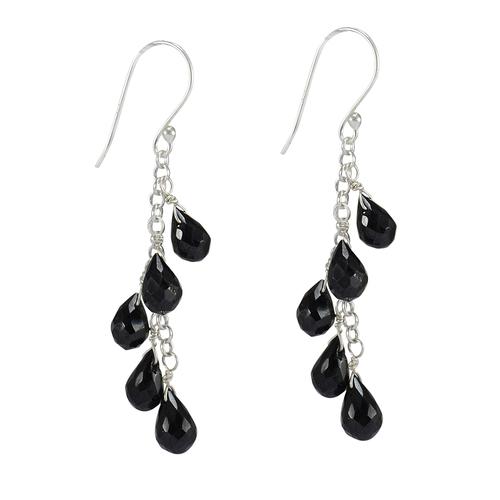 Black Onyx Silver Stone Earring PG-156301