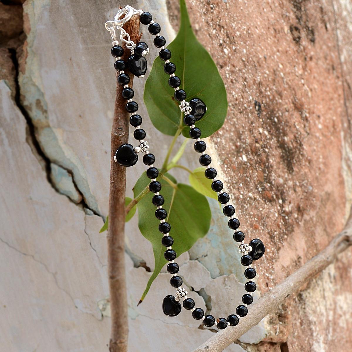 Black Onyx Gemstone Anklet PG-156304
