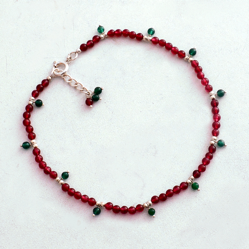 Pink & Green Quartz Stone Silver Anklet Pg-156305 Gender: Women