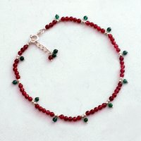 Pink & Green Quartz Stone Silver Anklet PG-156305