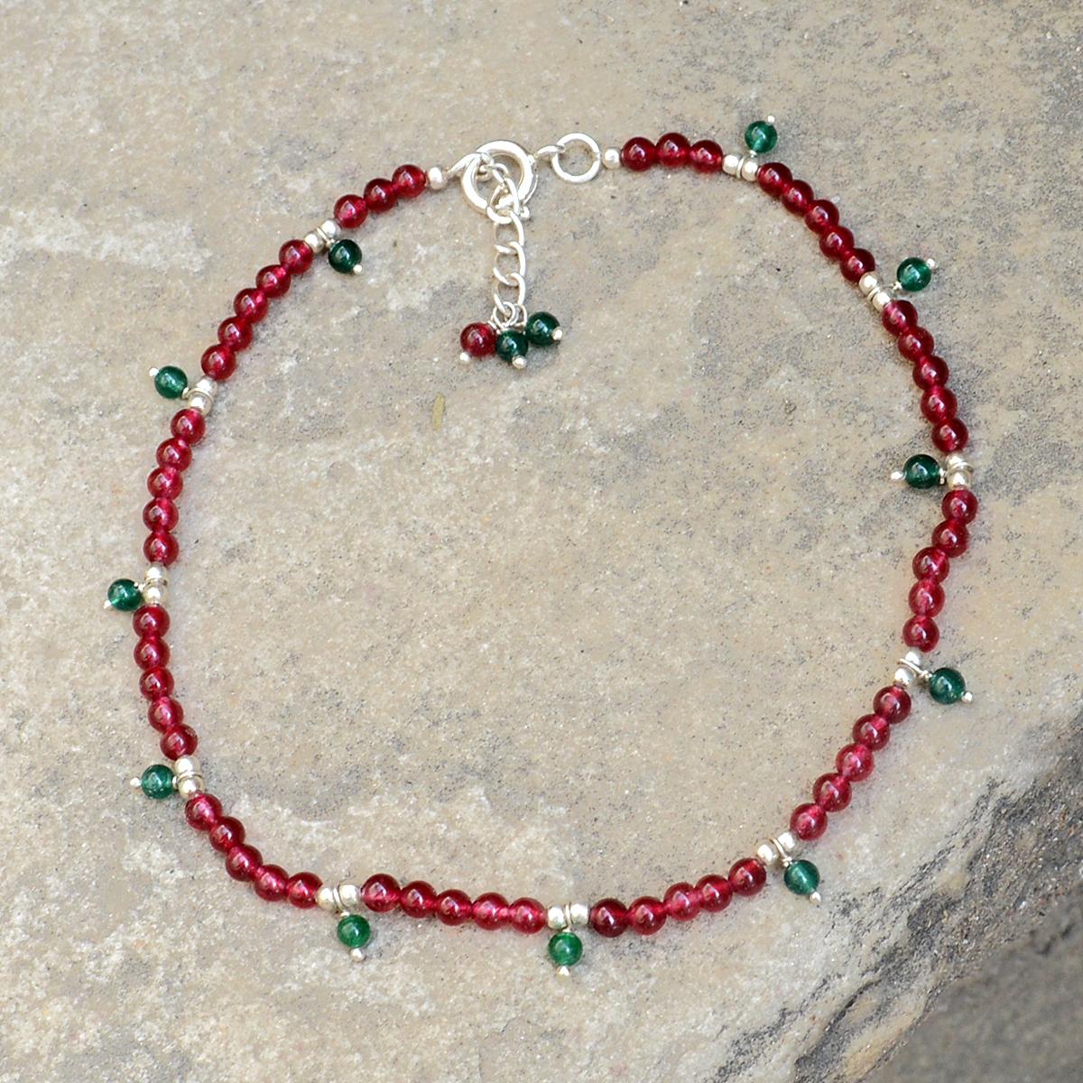 Pink & Green Quartz Stone Silver Anklet PG-156305