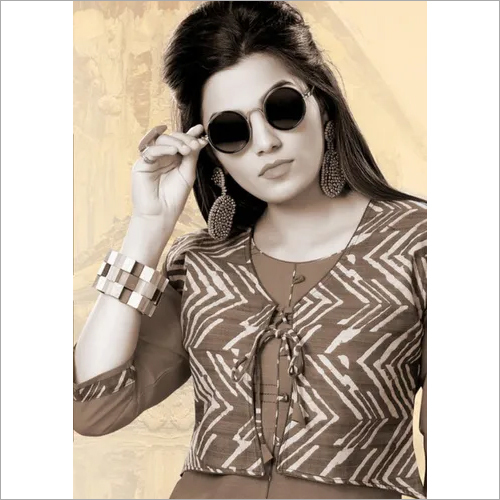 Sayona Plain with Printed Cotti Kurti Design by Kersom