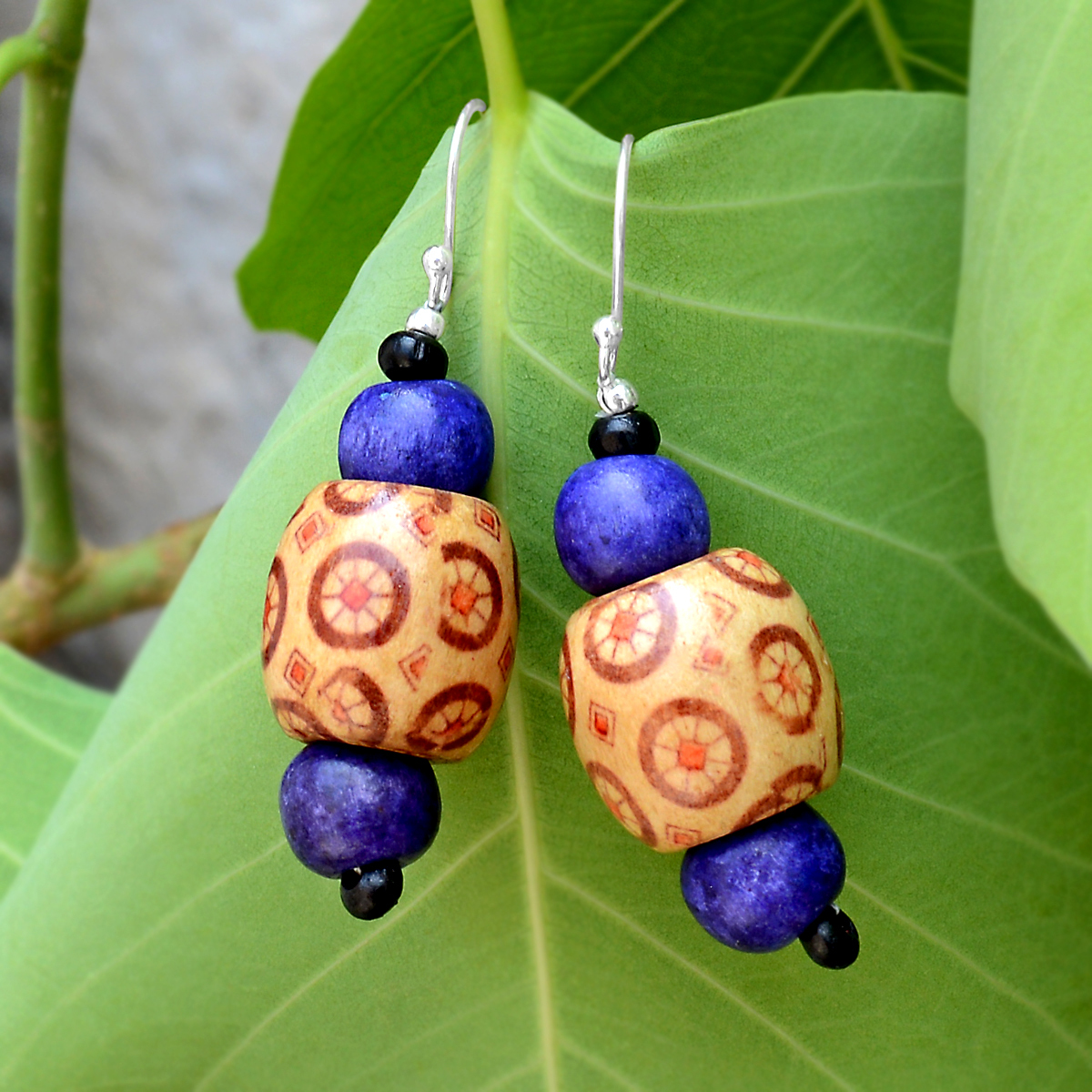 Silver Blue painted Wooden Earring PG-156311