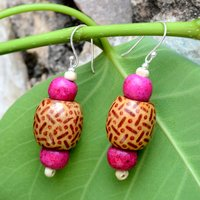 Pink Wood Painted Silver Earring PG-156312