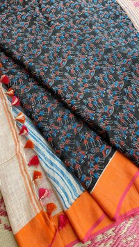 PURE EXCLUSIVELY MADE SINGLE PIECES PURE LINEN BY LINEN 120 COUNT SAREES, WITH MADHUBANI PRINT AND CONTRAST BLOUSE .