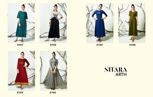 Arth Nitara Cotton Rayon Girls Wear Kurti Traders