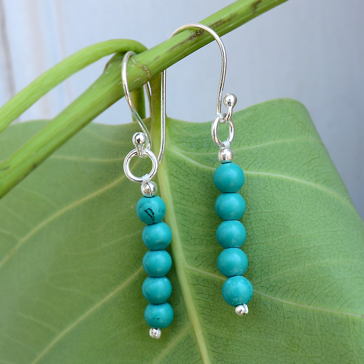 Turquoise Gemstone Silver Earring PG-156320