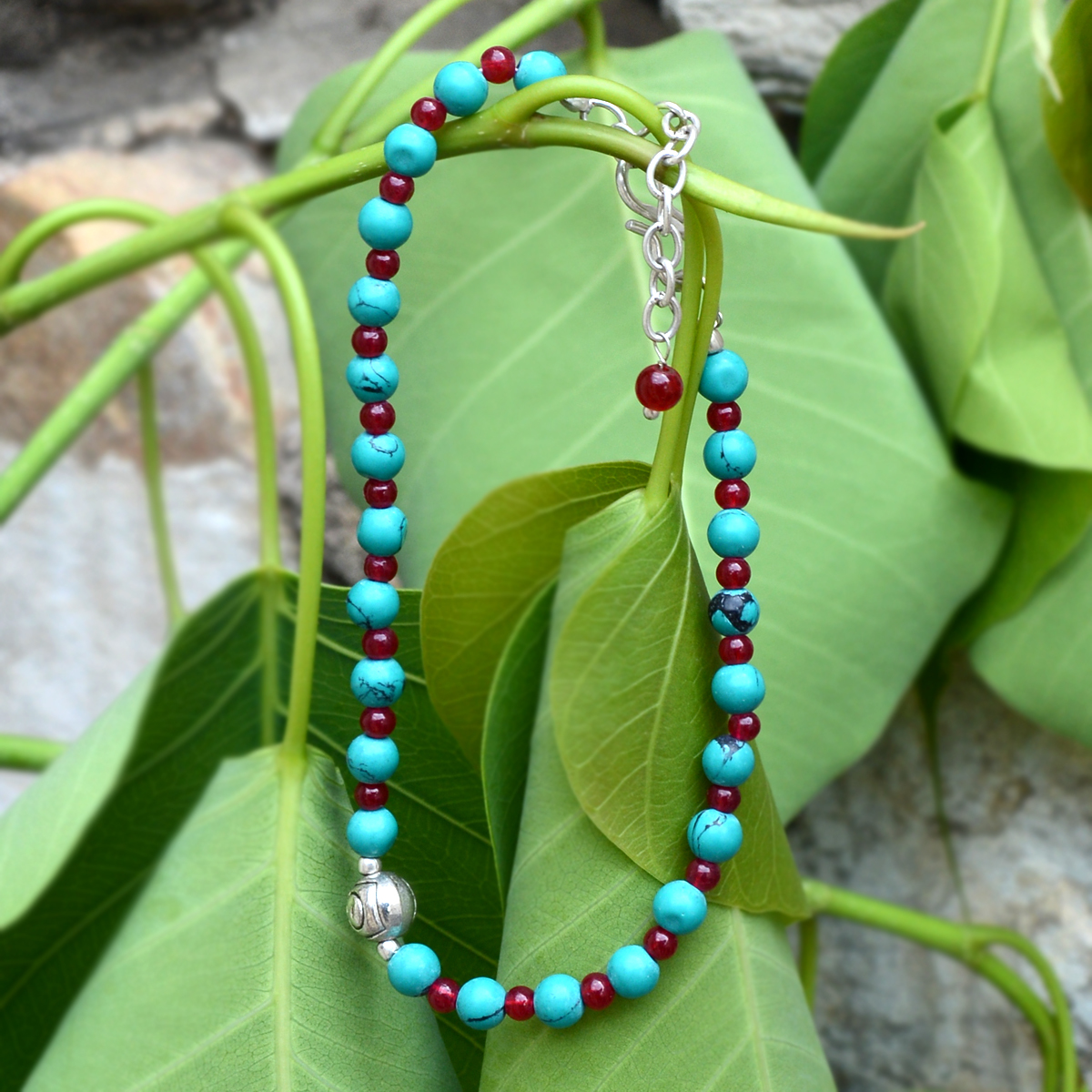 Turquoise & Red Quartz Silver Bracelet PG-156337