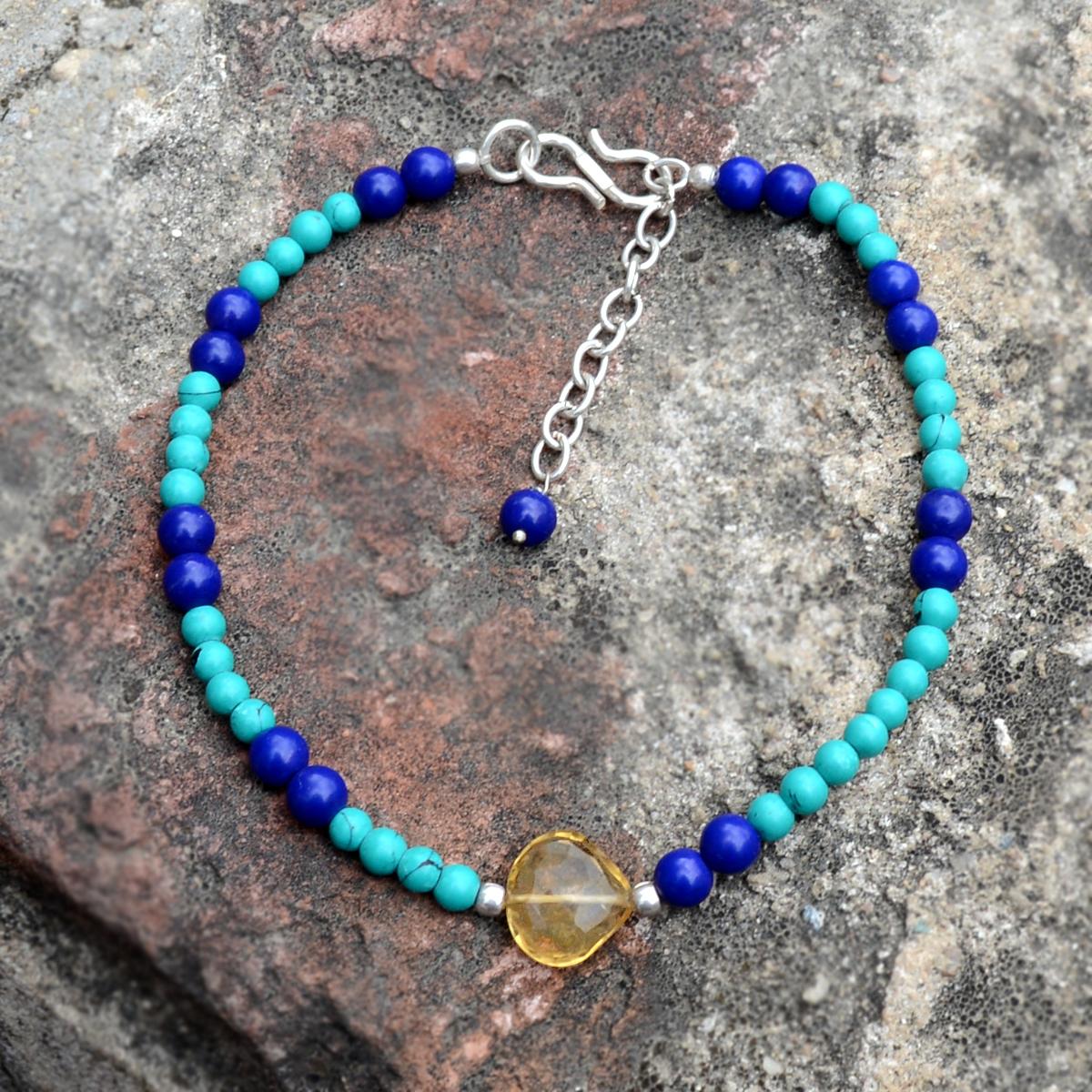 Citrine, Turquoise & Manmade Lapis Bracelet PG-156338