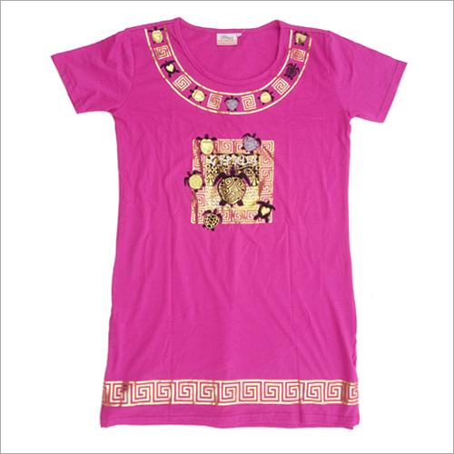 Ladies Round Neck Long T-Shirt