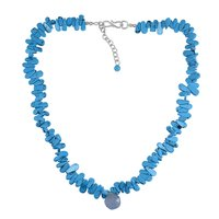 Blue Chalcedony, Turquoise Silver Necklace PG-156340