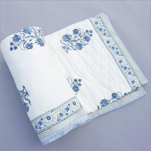 Blue Floral Block Print Quilt